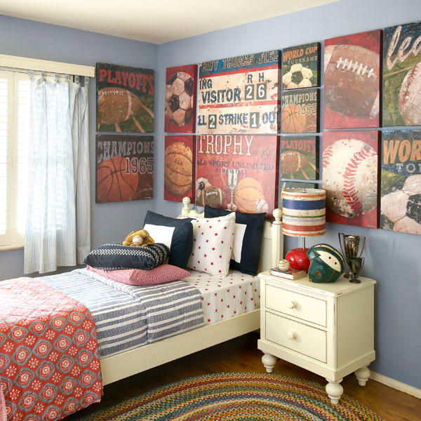 beautiful Vintage Boy Bedroom Part - 15: Vintage Sports Themed Boyu0027s Bedroom american-traditional-nursery