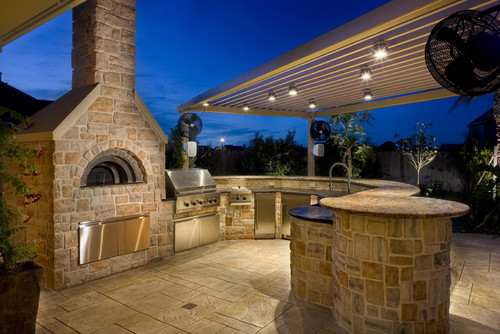 Outdoor Task Lighting Outdoor lighting to improve your morris county nj home overhead lights built into a permanent roof provide bright task lights over kitchen counters and a wash of general light highlights the natural stone workwithnaturefo