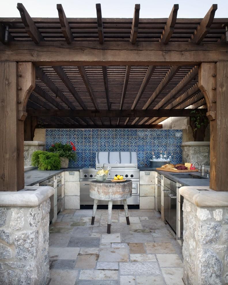 Inspiration for a mediterranean patio kitchen remodel in Wichita