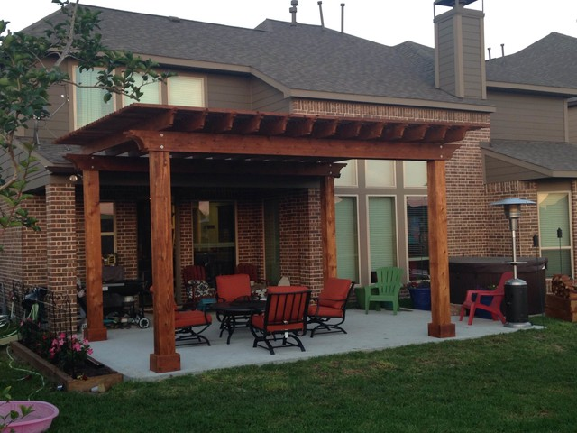 14 x 18 cedar pergola traditional patio houston