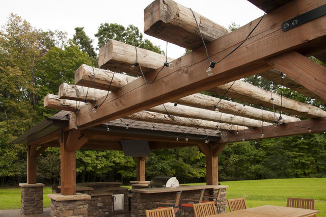 Wonderful 2 Sided Hand Hewn Beams   Patio Space Traditional Patio