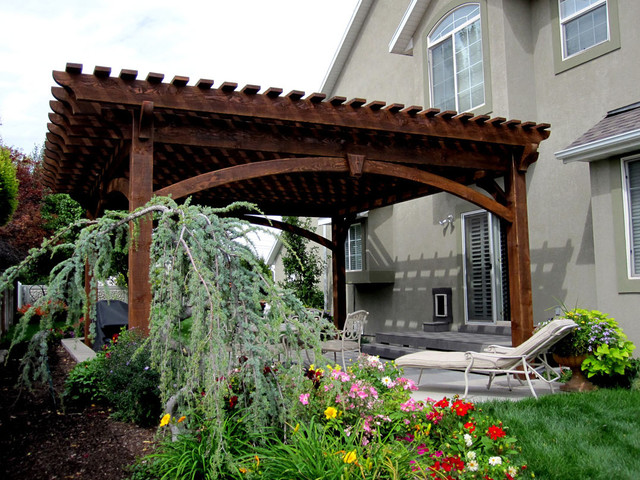 Installing A 20u0027 X 20u0027 Timber Frame DIY Arbor Pergola Kit For Shade  Contemporary
