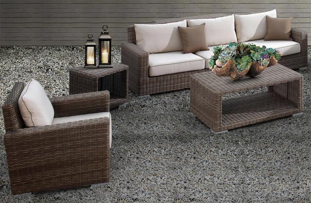 3 Pc Coronado Wicker Outdoor Sofa Set, Sunset West Outdoor Furniture