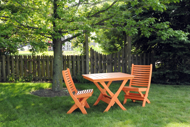 """32"""" x 36"""" Cypress Folding Table with 2 Folding Chairs contemporary-patio"""