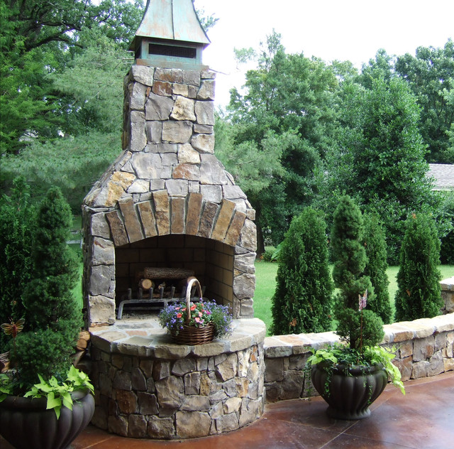 Backyard Fireplace Kits : 36 Standard Fireplace kit in Natural Stone  Traditional  Patio