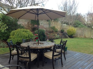 5 Round Wine And Music Themed Table Group W Fire Pit Ice Bucket And Umbrella Traditional Patio Orange County By Phoenix Phire Designs Houzz Uk