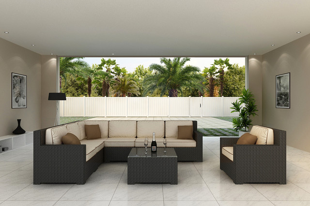 8 Pc. Hampton Outdoor Wicker Sectional by Forever Patio contemporary-patio