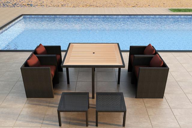 9 Piece Arbor Cube Outdoor Dining Set Modern Patio