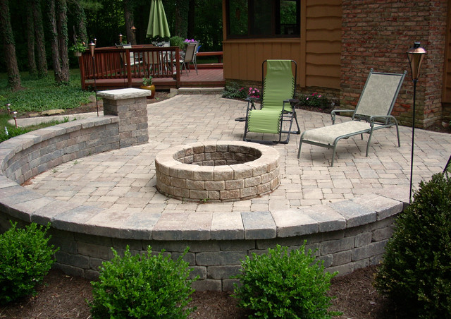 a backyard fire pit traditional patio cleveland by