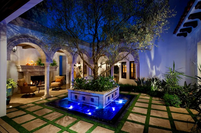 Patio Fountain   Mediterranean Courtyard Patio Fountain Idea In Orange  County