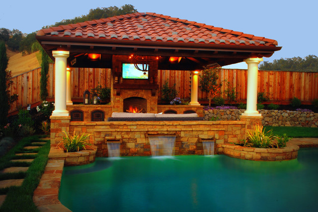 A tuscan style pavilion alamo ca mediterranean pool for Pool pavilion designs