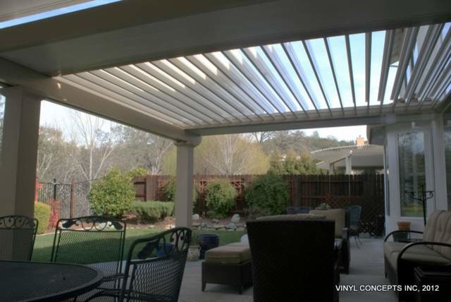 Outdoor patio furniture shade - Adjustable Louver Motorized Patio Covers Traditional Patio Los