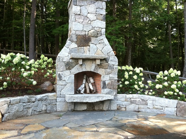 Aged Granite Fireplace And Retaining Wall Contemporary