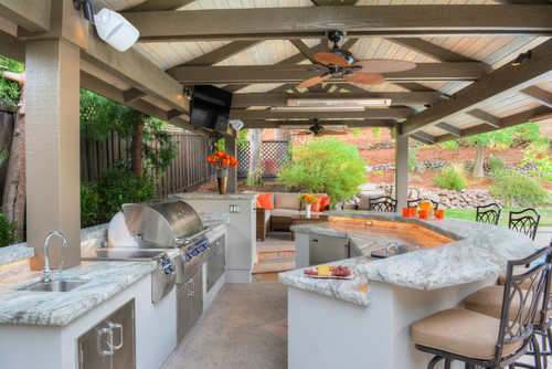 A Beautiful Outdoor Kitchen Featuring Fantasy Brown Quartzite