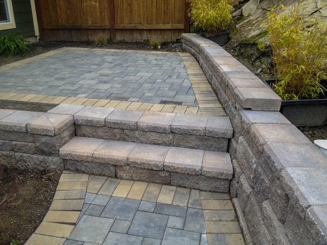 Landscape Blocks Abbotsford : Block wall and stairs w abbotsford pavers traditional landscape