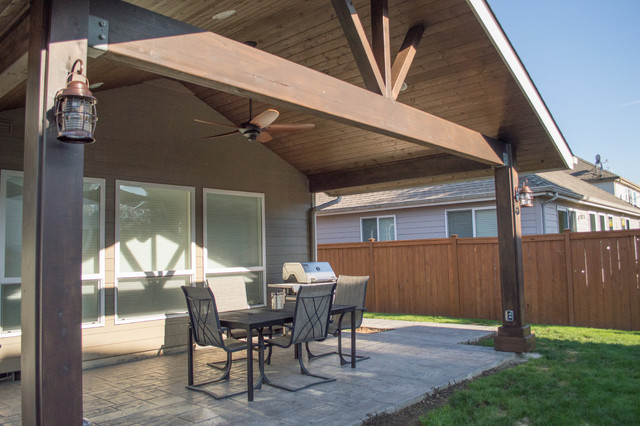 how to build a gable roof over a patio