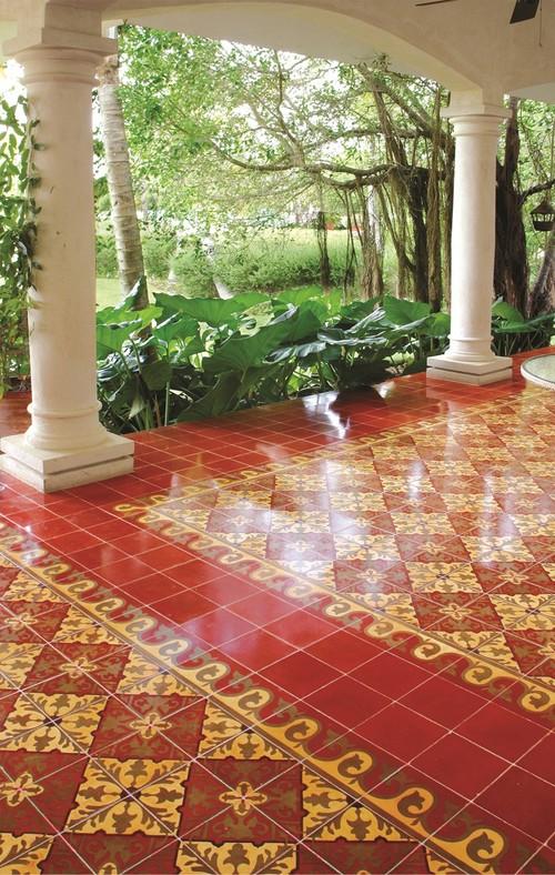 Alcala Cement Tile Patio mediterranean patio