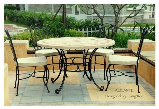 """ALICANTE 49"""" & 63"""" ROUND MARBLE MOSAIC STONE GARDEN PATIO TABLE craftsman-patio"""