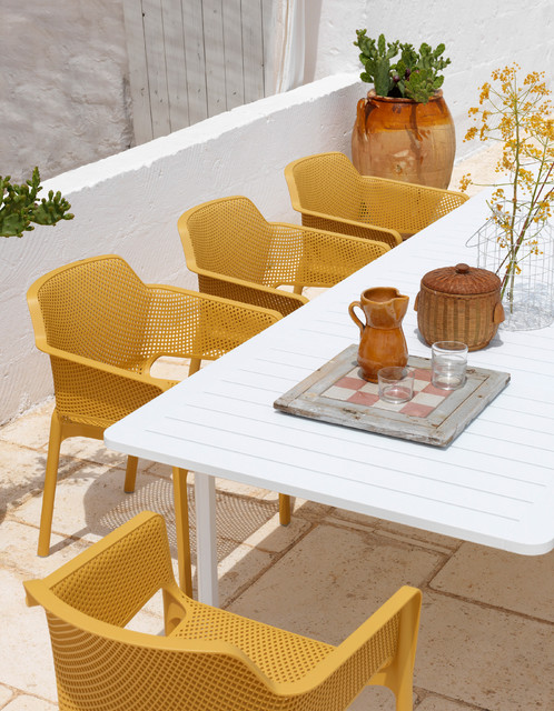 Alloro 9 Piece with Net Chairs (Mustard) contemporary-patio