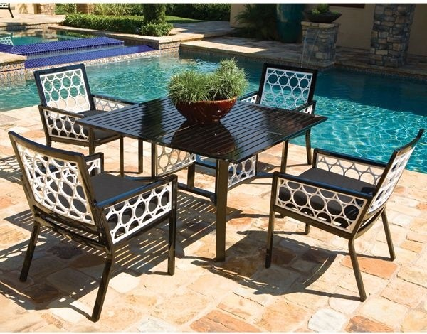 Aluminum outdoor dining table and chair set modern for Patio furniture table set