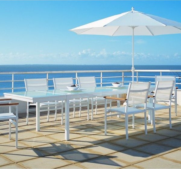 Aluminum Outdoor Extension Dining Table Modern Patio