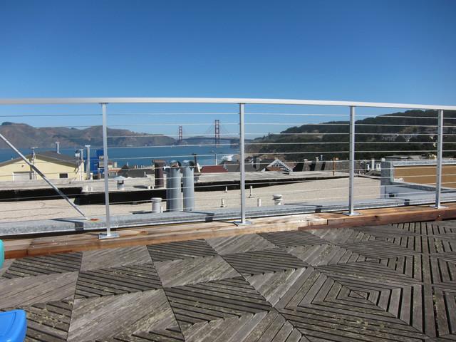 Aluminum Wire Railing Roof Deck Contemporary Patio
