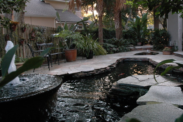 Amelia island koi pond southwestern patio for Balcony koi pond