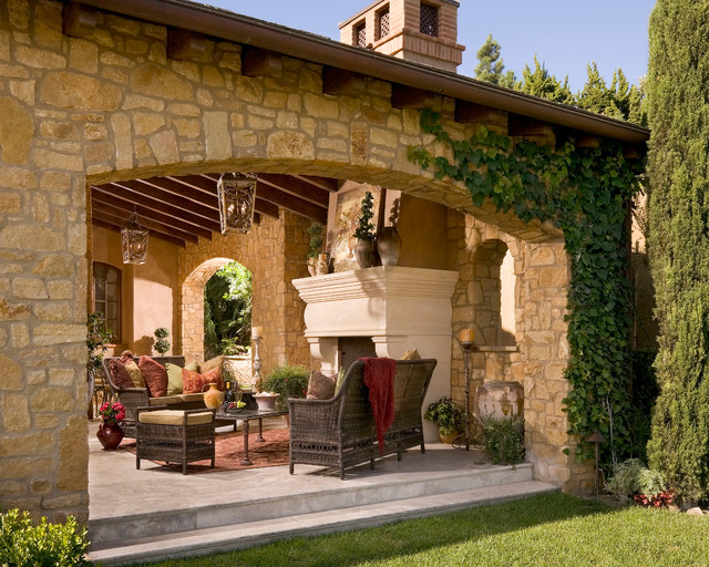 Tuscan style living room furniture tables sofas - Anaheim Hills Tuscan Villa Mediterranean Patio Other