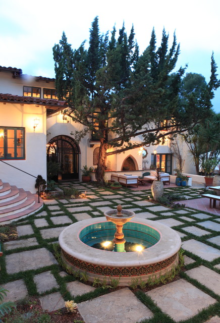 Andalusian Courtyard Fountain and Lounge mediterranean-patio