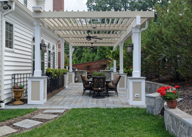 Annandale Freestanding Equinox Adjustable Roof Over Patio (Roof Open)  Traditional Patio