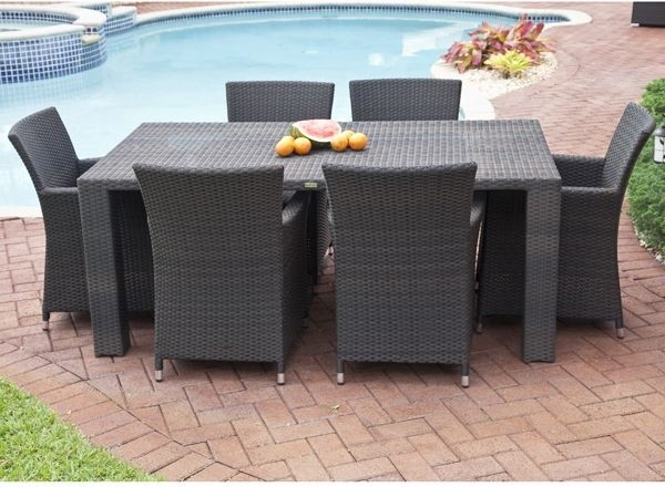 Antiqua Collection Outdoor Wicker Dining Table and Chairs Modern