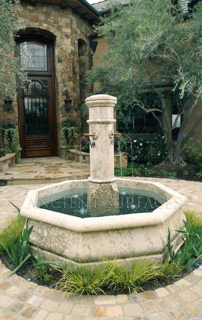 Antique pool Fountains mediterranean patio