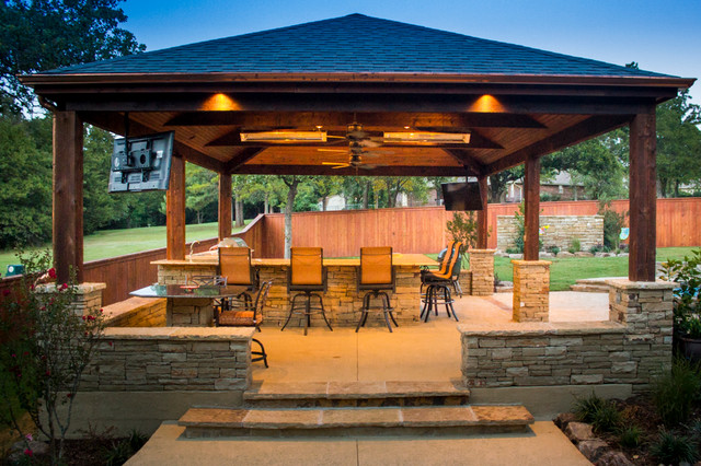 Exceptionnel Inspiration For A Large Craftsman Backyard Concrete Patio Kitchen Remodel  In Oklahoma City With A Gazebo