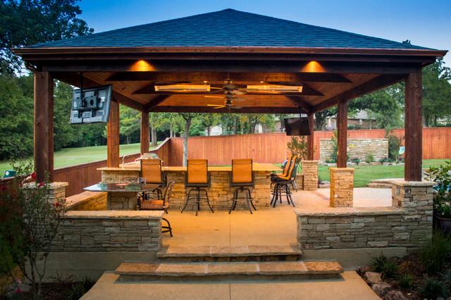 Arbors Amp Pavilions Wood Pavilion With Stone Accents