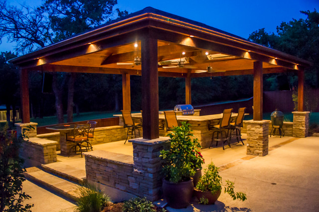 arbors & pavilions - wrap-around granite outdoor kitchen