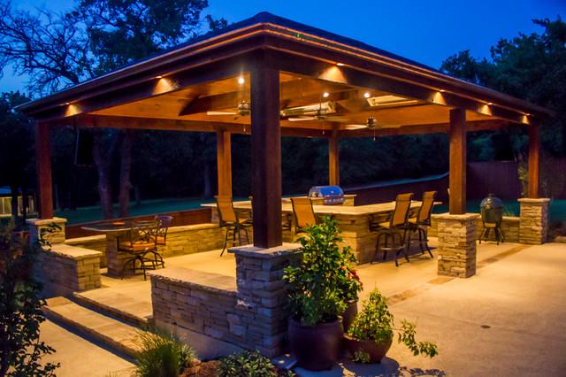 arbors & pavilions - wrap-around granite outdoor kitchen - craftsman