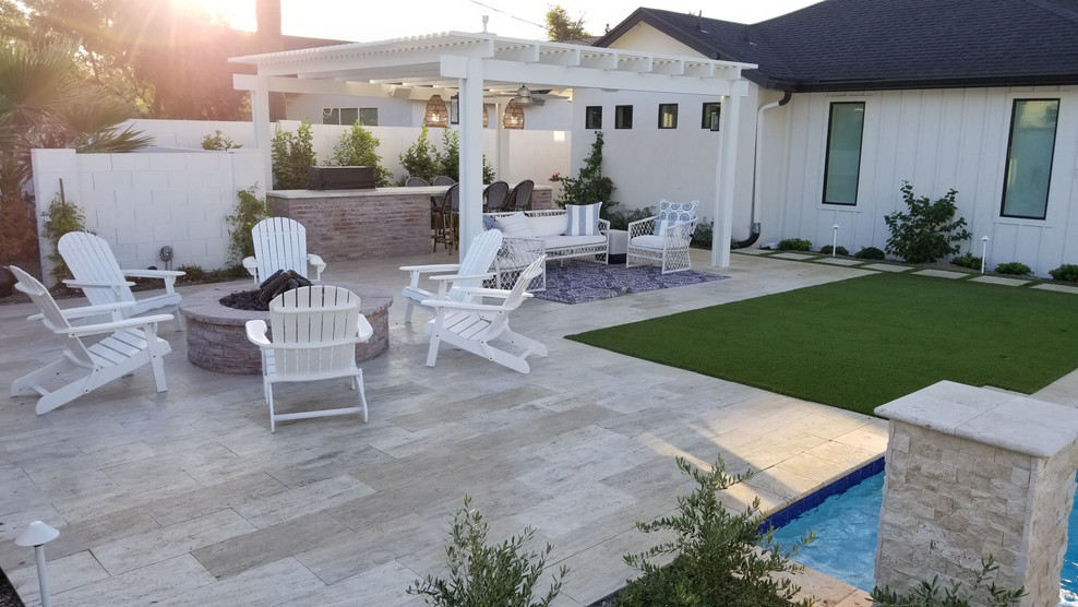 Patio kitchen - mid-sized country backyard tile patio kitchen idea in Phoenix with a pergola