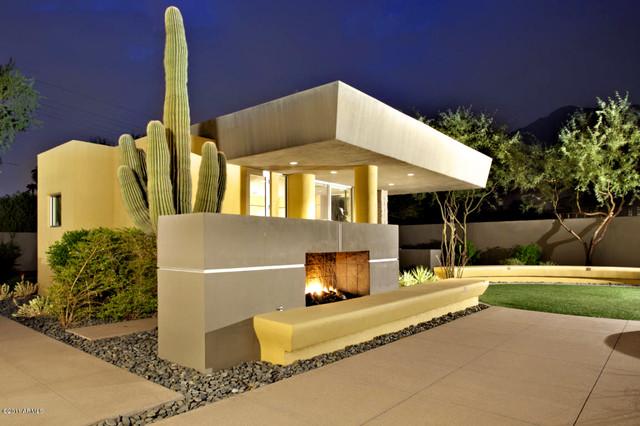 Arcadia Suburban Modern Guest House Outdoor Fireplace