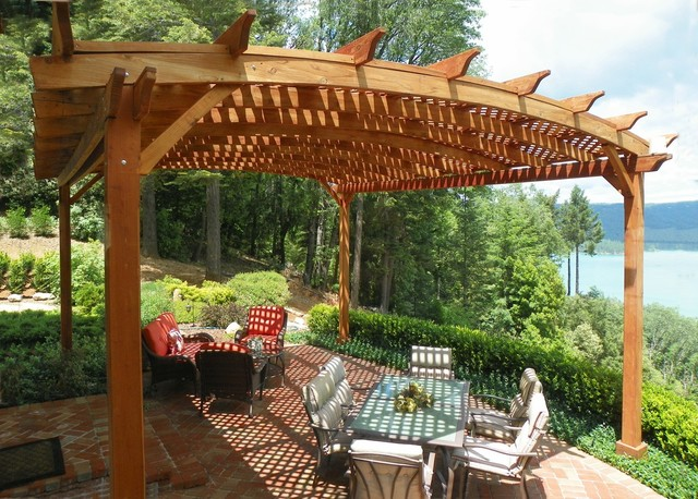 Arched Pergola Traditional Patio
