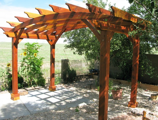 Arched pergola traditional patio san francisco by for Redwood patio cover