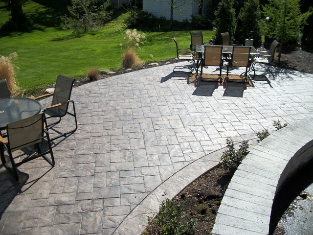 Elegant Ashler Slate Stamped Concrete Patio Traditional Patio
