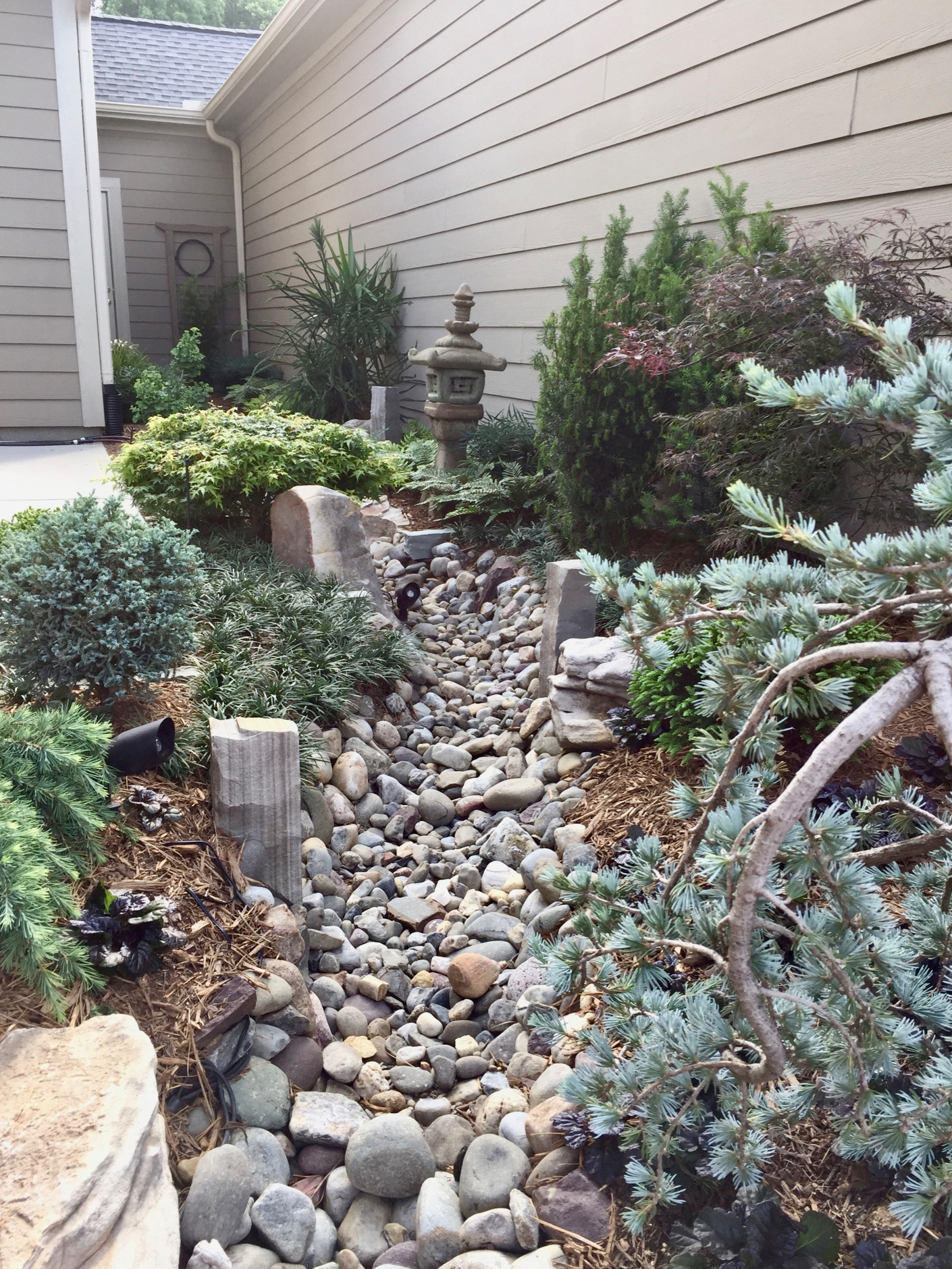 Asian inspired creek bed.