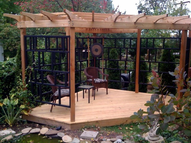 Asian Inspired Pergola Patio New York By The