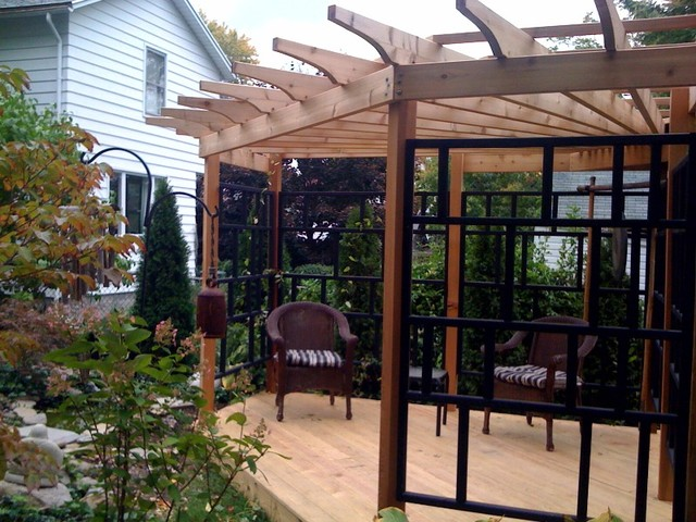 asian inspired pergola asian patio new york by the. Black Bedroom Furniture Sets. Home Design Ideas