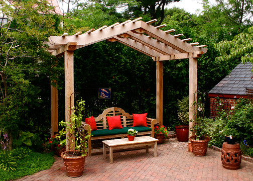 Asian style pergolas traditional patio boston by for Japanese garden trellis designs