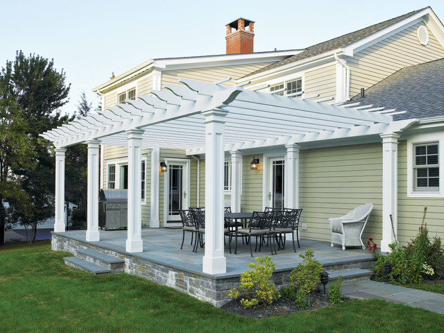 Attached Cellular PVC Pergola On Patio.   Traditional ...