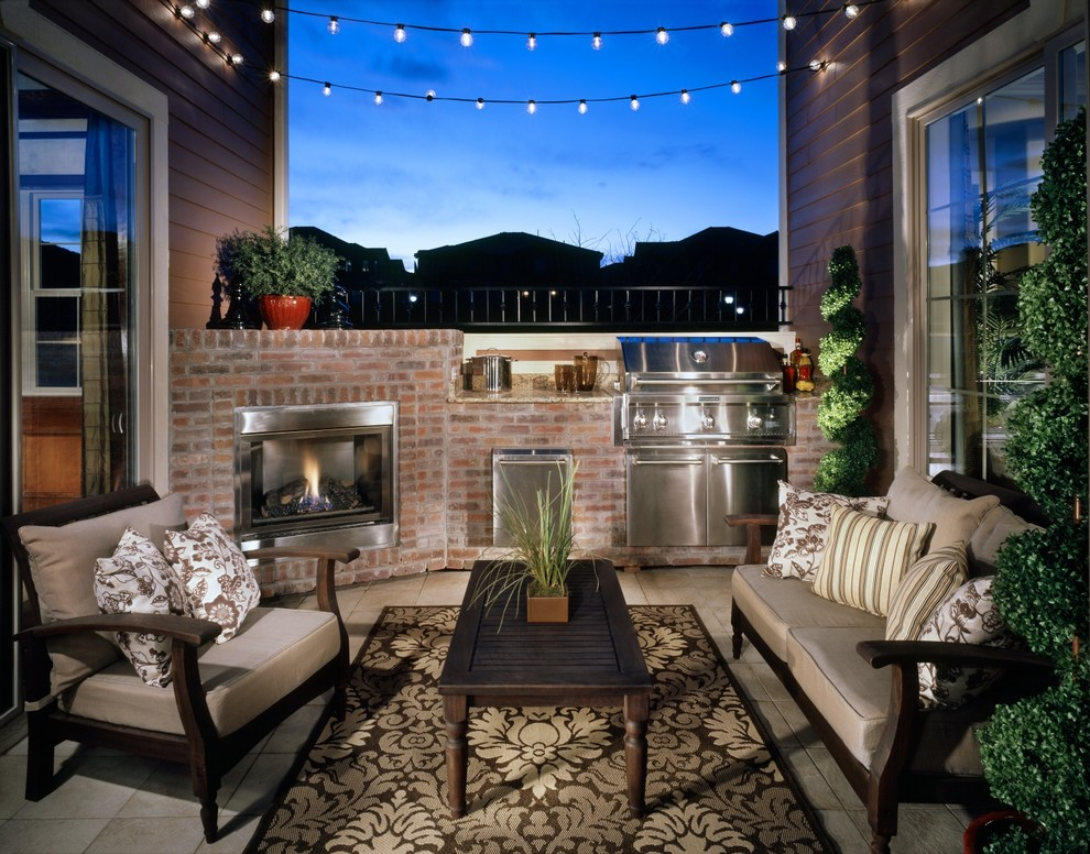 Patio - traditional patio idea in Denver with a fire pit