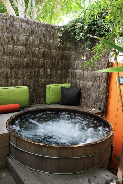 Back deck and hot tub ideas - tropical - patio - los angeles