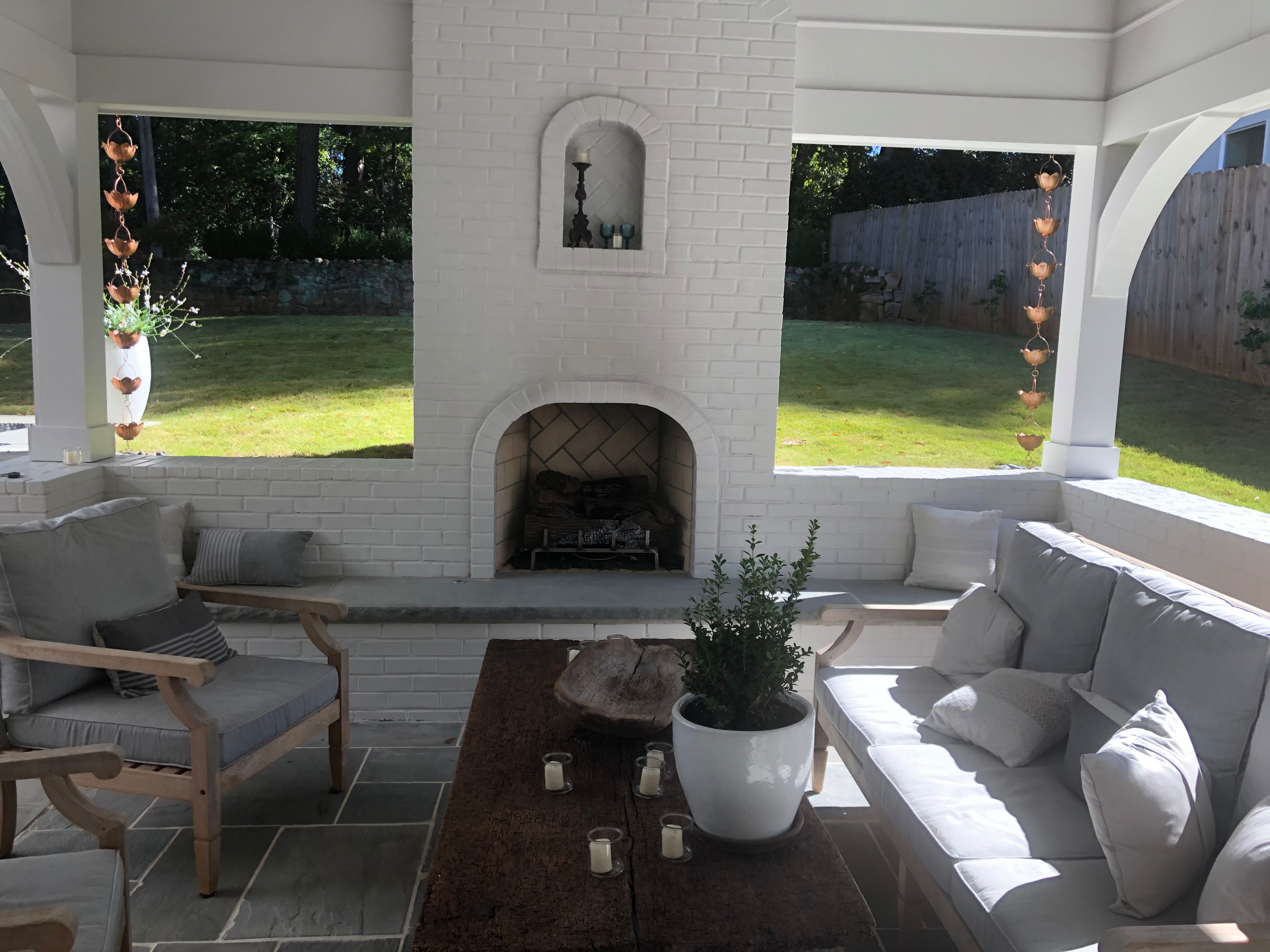 Back Patio and Porch with Fireplace