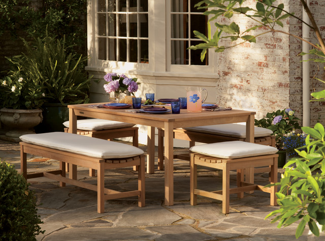 Backless bench dining set traditional outdoor benches for Traditional garden furniture